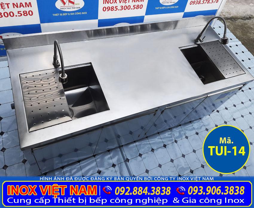 Báo giá tủ inox có gắn bồn rửa chén inox dài 2 mét chất lượng.