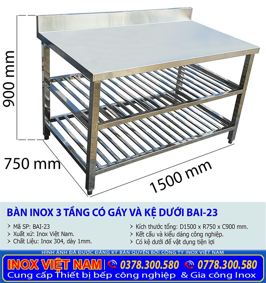 Kích thước bàn inox 3 tầng có gáy và kệ song bên dưới, bàn bếp inox giá tốt.
