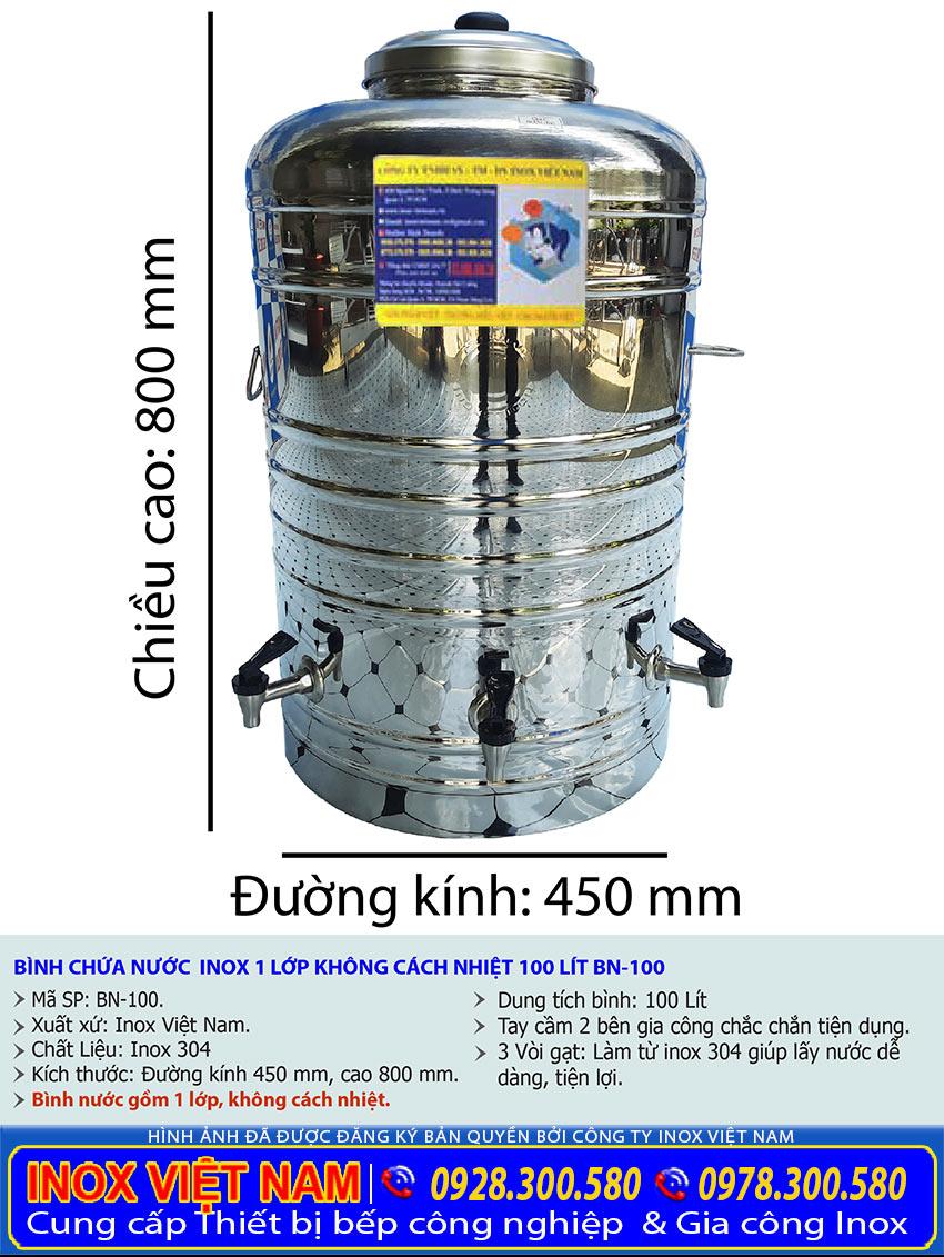 Báo giá bình đựng nước inox 100 lít giá tốt. Inox Việt Nam.