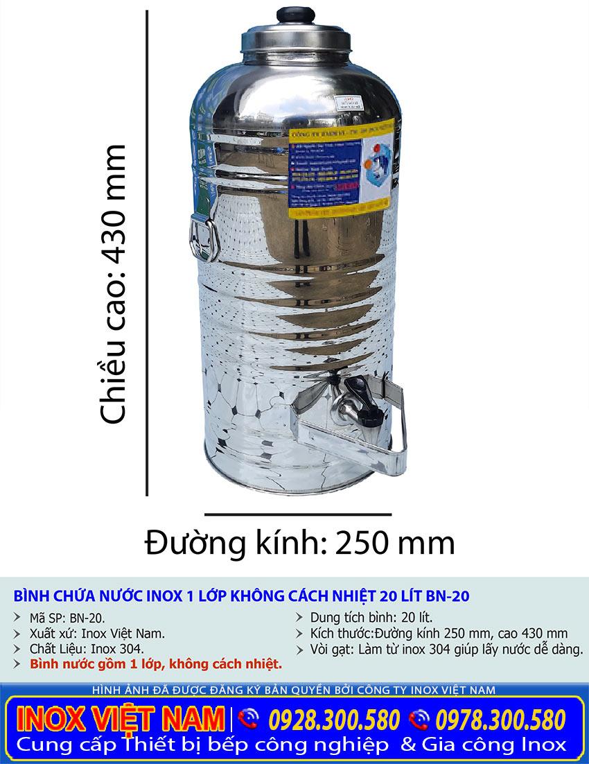 Kích thước bình đựng nước đá inox giá tốt 20 lít
